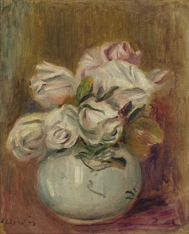 PIERRE-AUGUSTE RENOIR-ROSES BLANCHES