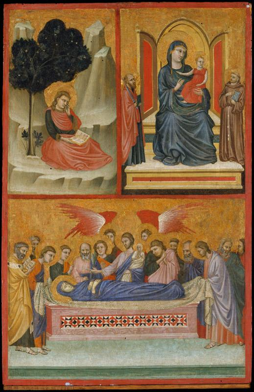 Pacino di Bonaguida--Saint John on Patmos, Madonna and Child Enthroned, and Death of the Virgin