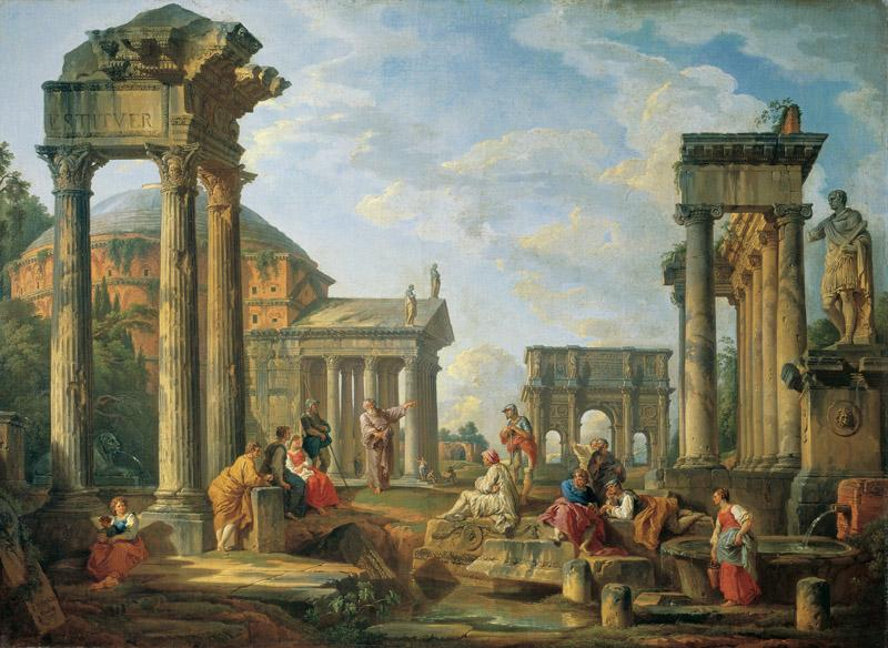 Paolo Giovanni Panini - Roman Ruins with a Prophet, 1751