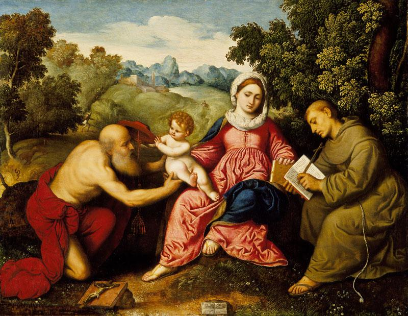 Paris Bordone - Madonna and Child with Saints Jerome and Francis
