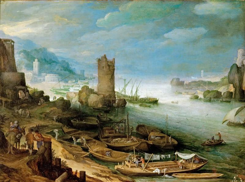 Paul Bril (1554-1626) -- River Landscape with Ruined Tower