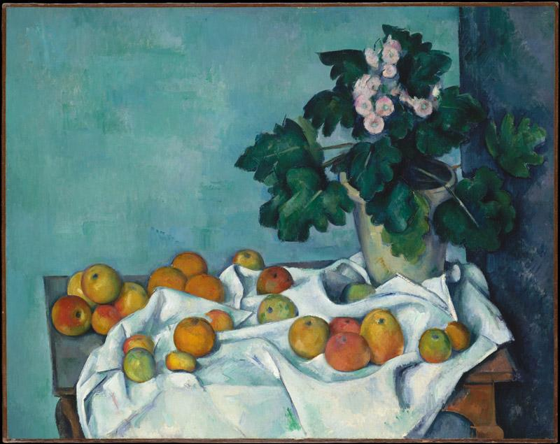 Paul Cezanne--Still Life with Apples and a Pot of Primroses