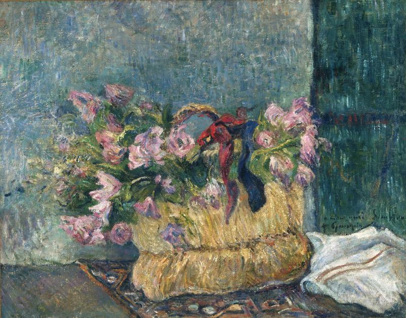 Paul Gauguin, French, 1848-1903 -- Still Life with Moss Roses in a Basket