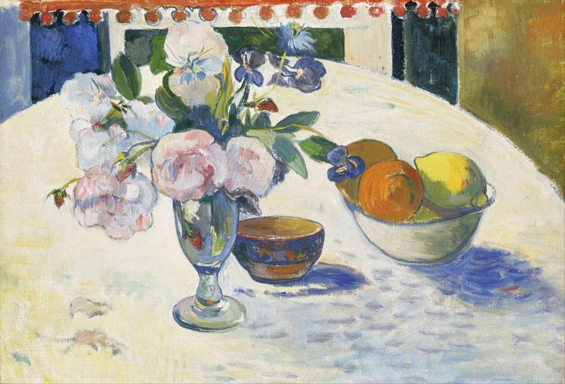 Paul Gauguin - Flowers and a Bowl of Fruit on a Table