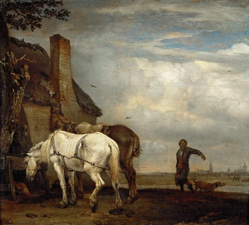Paulus Potter (1625-1654) -- Two Work Horses in Front of a Farmhouse
