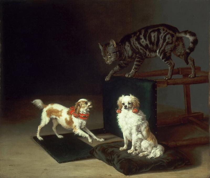Paulus Potter, Dutch (active The Hague, Delft, and Amsterdam), 1625-1654 -- Cat Playing with Two Dogs