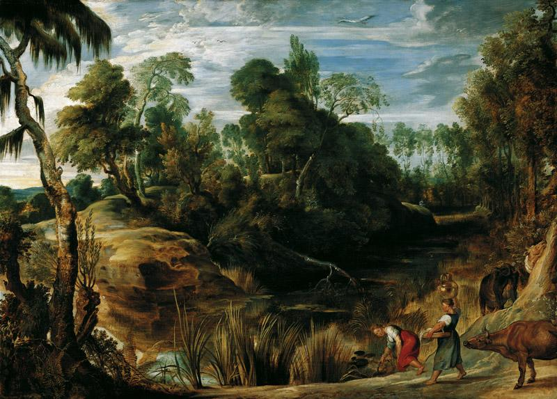 Peter Paul Rubens - Landscape with Milkmaids and Cows, 1616