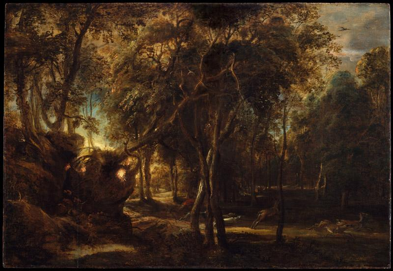 Peter Paul Rubens--A Forest at Dawn with a Deer Hunt