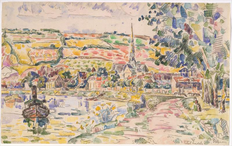 Petit Andely-The River Bank-Paul Signac (French, Paris 1863-1935 Paris)