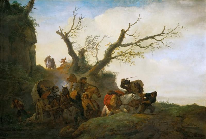 Philips Wouwerman -- Attack on a group of travellers