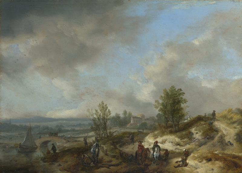 Philips Wouwermans - A Dune Landscape with a River and Many Figures