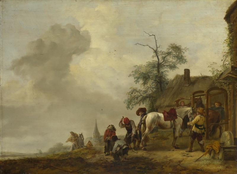 Philips Wouwermans - A Horse being Shod outside a Village Smithy