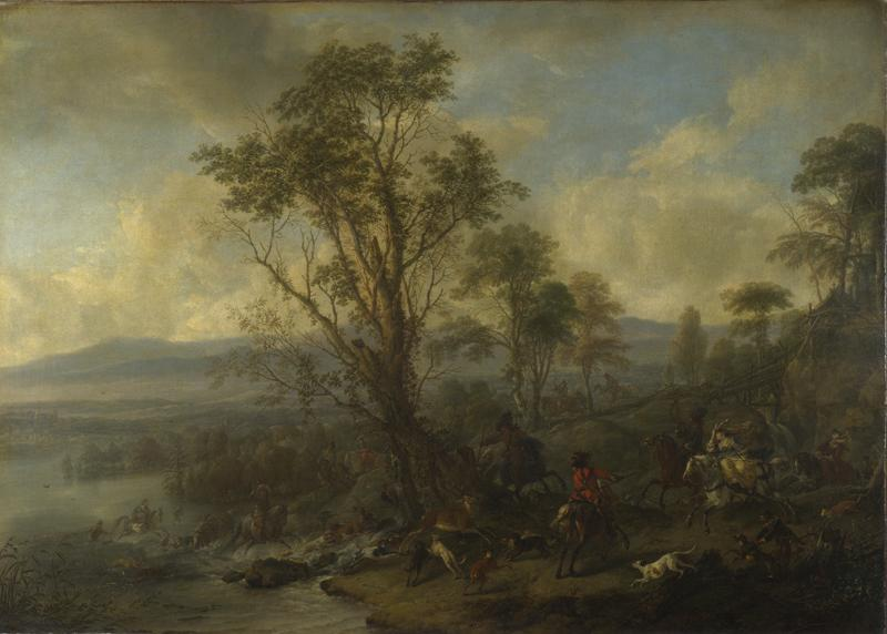 Philips Wouwermans - A Stag Hunt