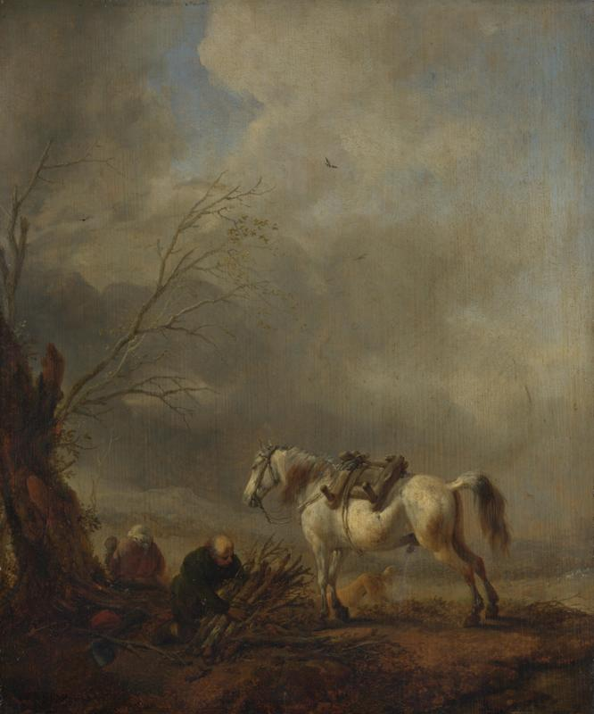 Philips Wouwermans - A White Horse, and an Old Man binding Faggots