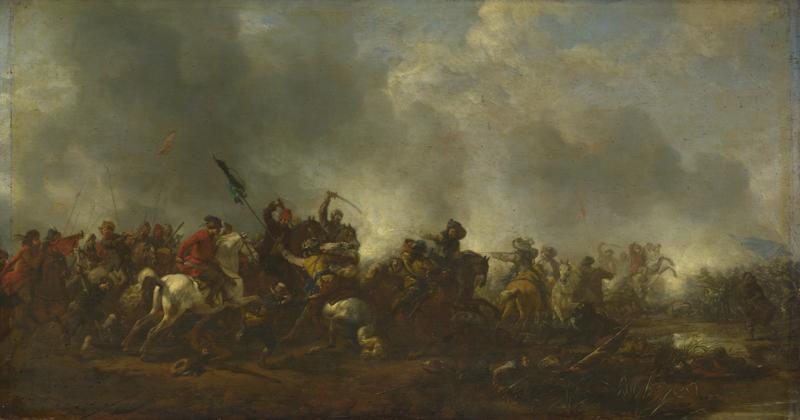 Philips Wouwermans - Cavalry attacking Infantry