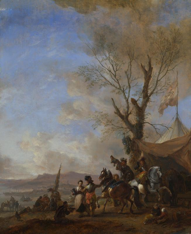 Philips Wouwermans - Cavalrymen halted at a Sutler Booth