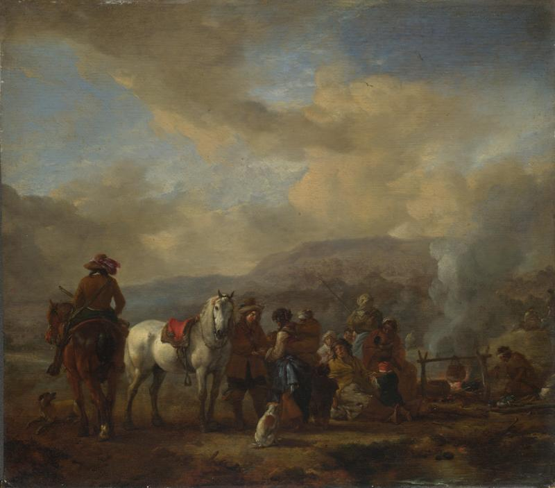 Philips Wouwermans - Two Horsemen at a Gipsy Encampment