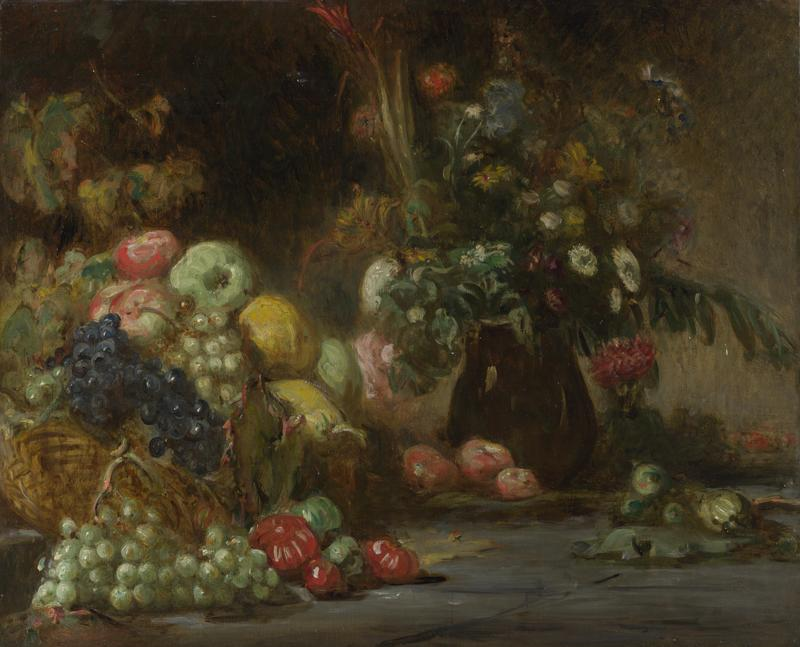 Pierre Andrieu - Still Life with Fruit and Flowers