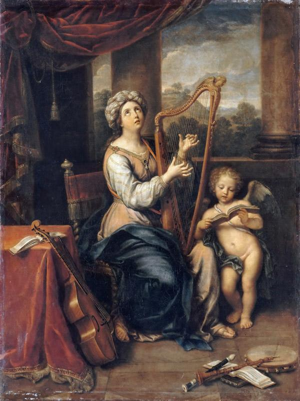 Pierre Mignard I -- Saint Cecilia singing the praises of the Lord