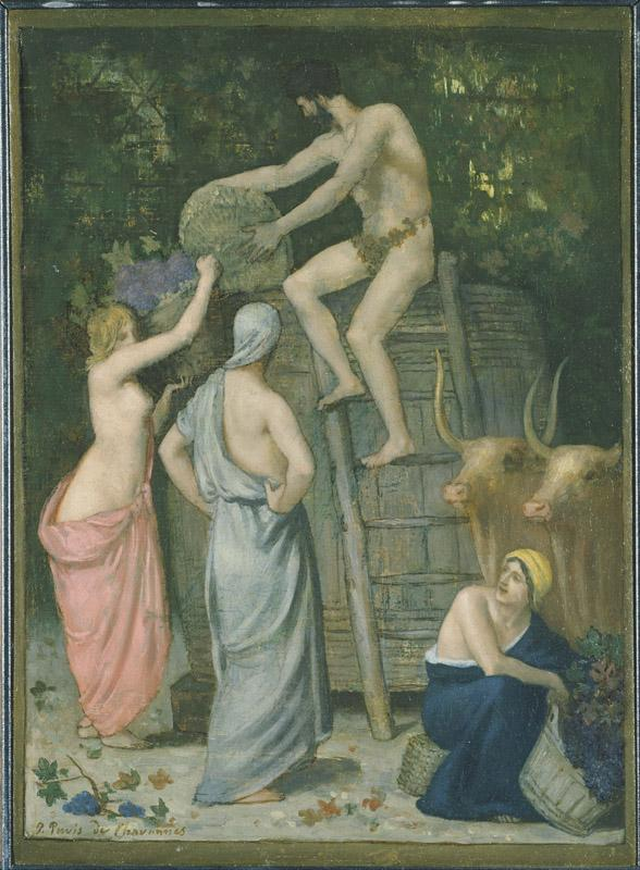 Pierre Puvis de Chavannes (1824-1898)-The Wine Press