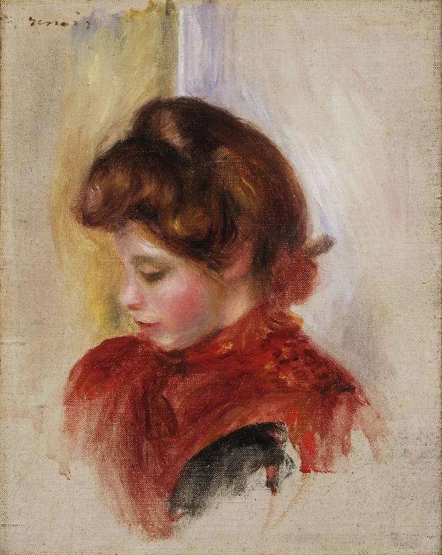 Pierre-Auguste Renoir, French, 1841-1919 -- Girl in a Red Scarf