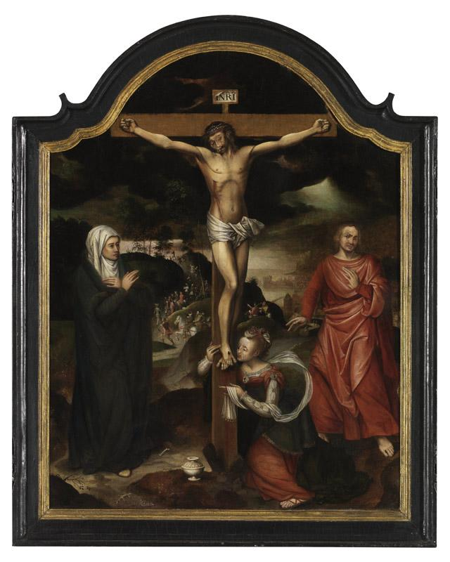 Pieter Claeissens I - Christ on the cross with the Virgin, St John and Mary Magdalene M