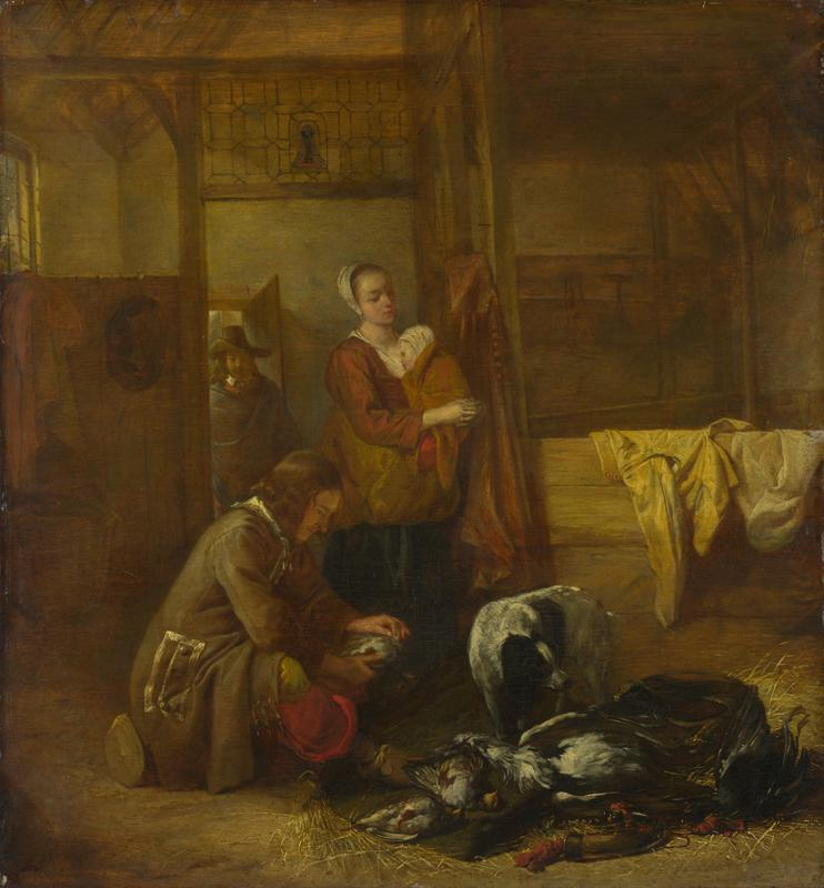 Pieter de Hooch - A Man with Dead Birds, and Other Figures, in a Stable