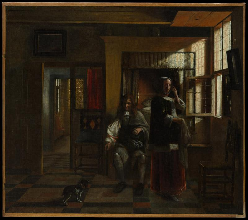Pieter de Hooch--Interior with a Young Couple