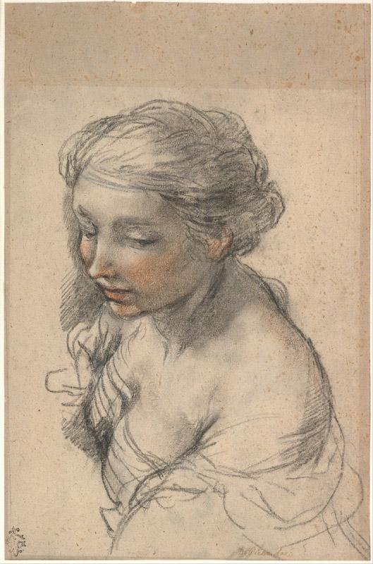 Pietro da Cortona (1596-1669)-Bust of a Young Woman Turned to th