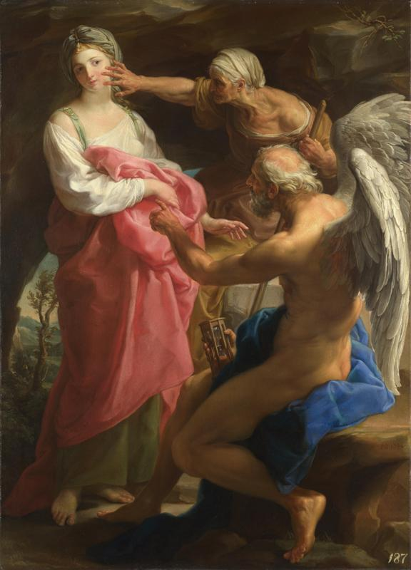 Pompeo Girolamo Batoni - Time orders Old Age to destroy Beauty