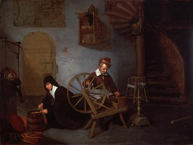 Quirijn Gerritsz. van Brekelenkam, Dutch (active Leiden), c. 1620-1668 -- A Wool Spinner and His Wife