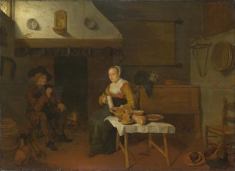 Quiringh van Brekelenkam - An Interior, with a Man and a Woman seated by a Fire