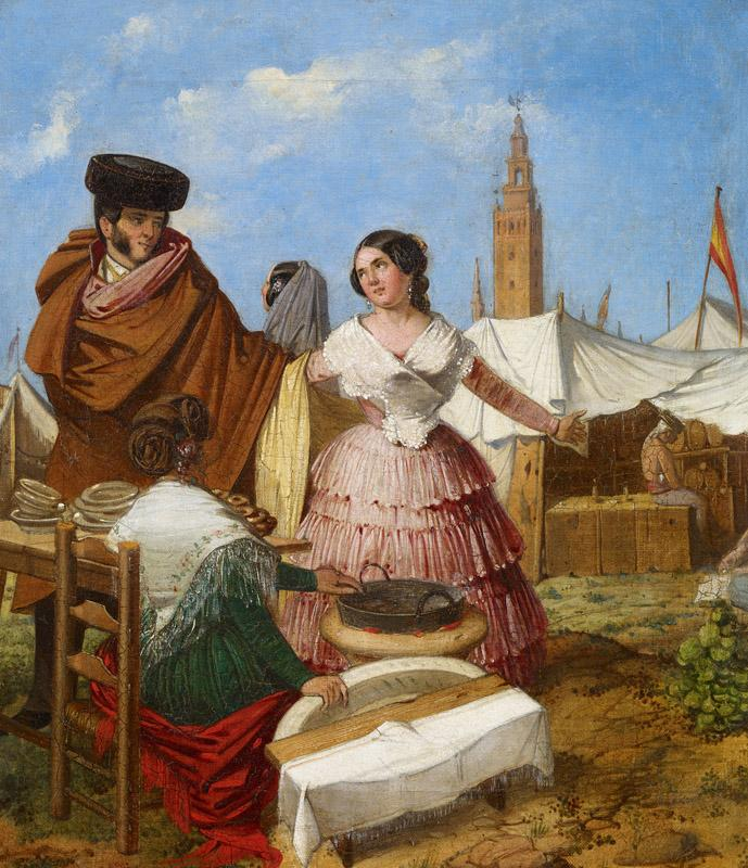 Rafael Benjumea Courting at a Ring-Shaped Pastry Stall at the Seville Fair 1852