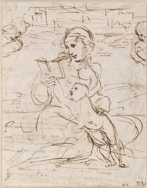 Raphael (1483-1520)-Reading Madonna and Child in a Landscape bet