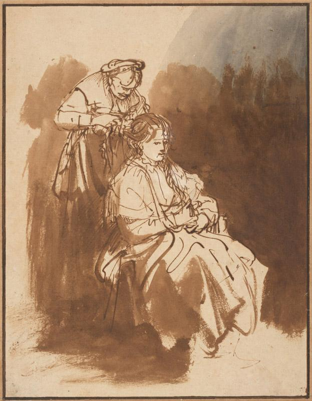 Rembrandt (1606-1669)-A Young Woman Having Her Hair Braided, c.