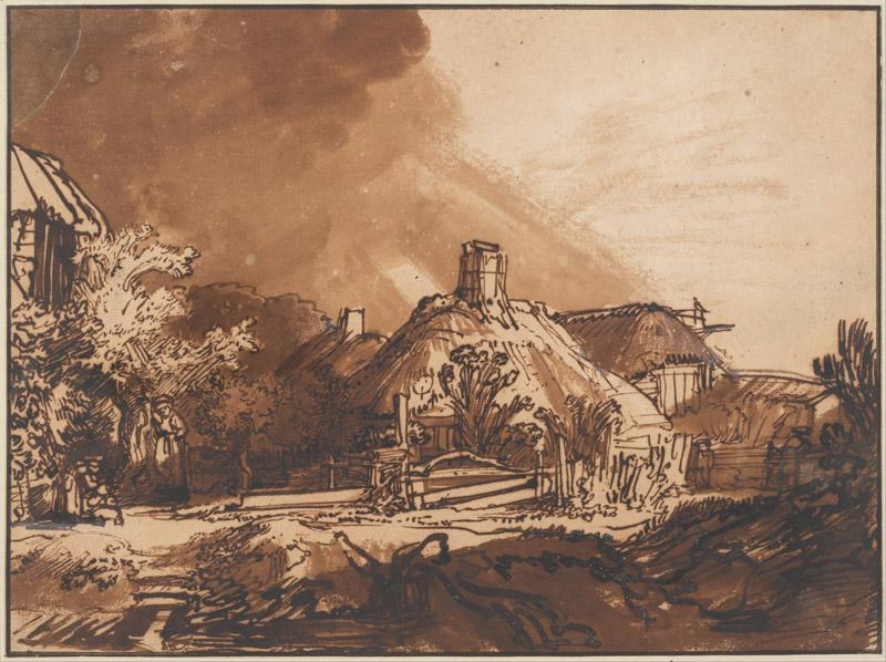 Rembrandt (1606-1669)-Cottages under a Stormy Sky, c