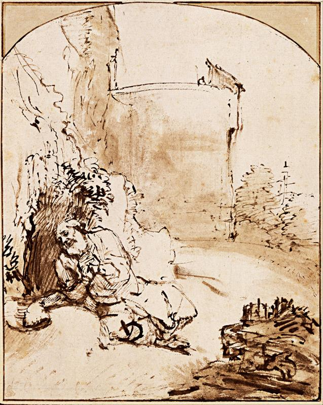 Rembrandt (1606-1669)-The Prophet Jonah before the Walls of Nine