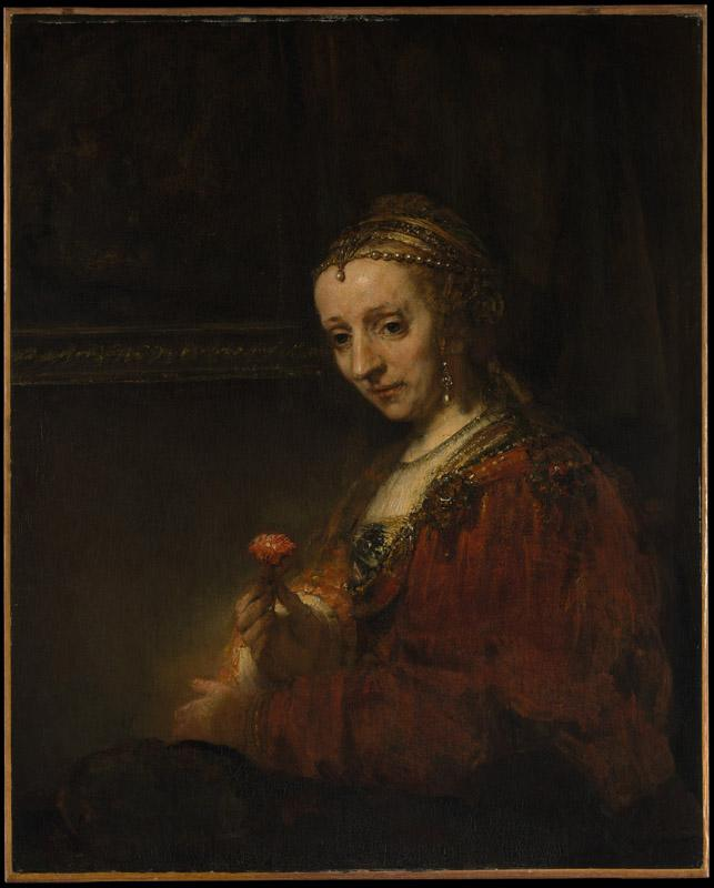 Rembrandt--Woman with a Pink
