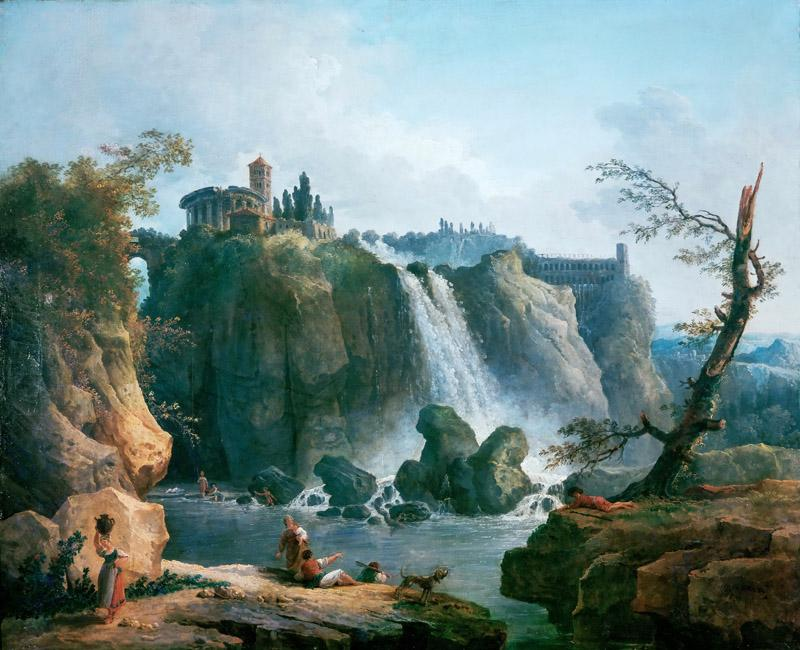 Robert, Hubert -- La cascade de Tivoli-The waterfall at Tivoli