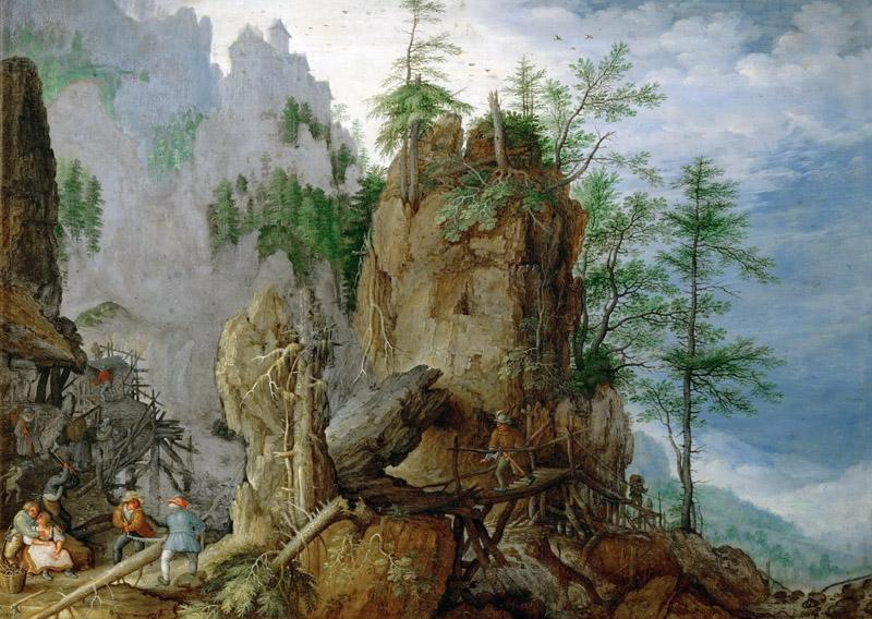 Roelandt Savery (1576-1639) -- Mountain Landscape with Woodcutters