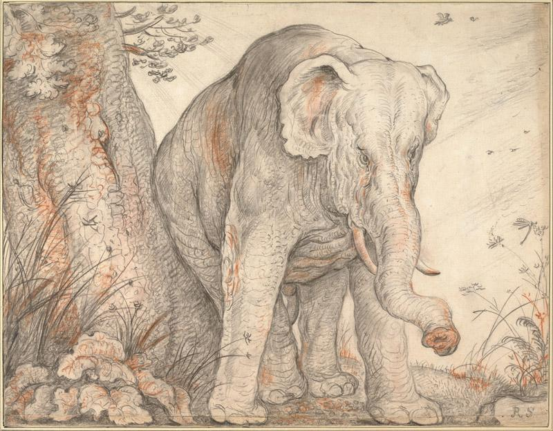 Roelant Savery (1576-1639)-An Elephant Rubbing Itself against a