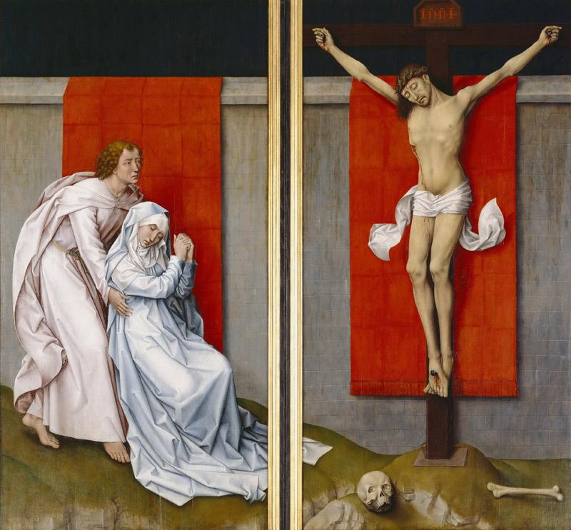 Rogier van der Weyden, Netherlandish (active Tournai and Brussels), 1399-1400-1464 -- The Crucifixion, with the Virgin and Saint John the Evangelist Mourning