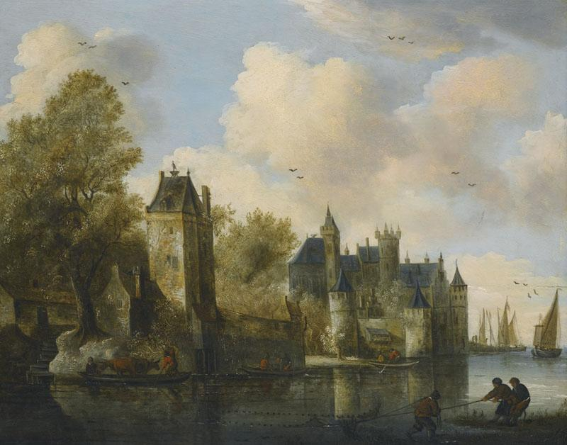 SALOMON VAN RUYSDAEL-A FORTIFIED TOWN ON A RIVER WITH A FERRY