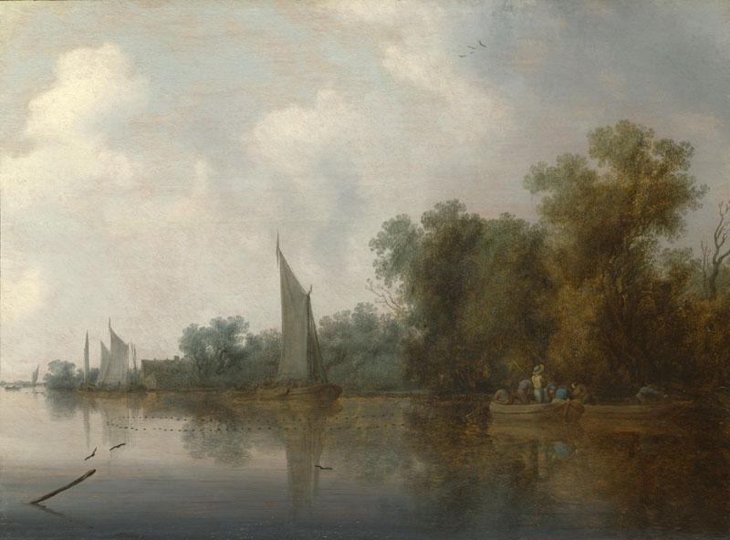 Salomon van Ruysdael - A River with Fishermen drawing a Net