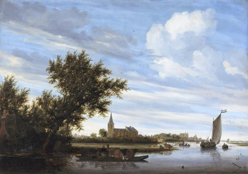 Salomon van Ruysdael - River View with Church and Ferry
