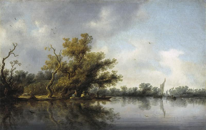 Salomon van Ruysdael - Riverbank with Old Trees