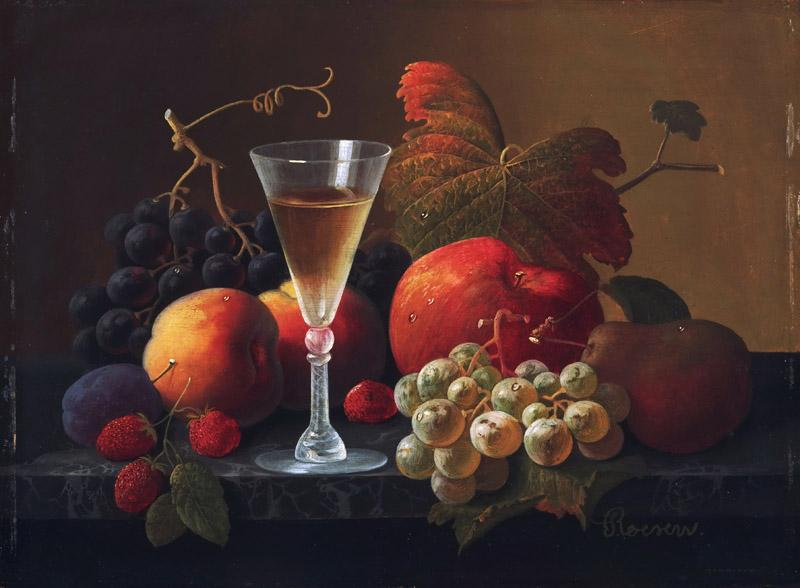 Severin Roesen, American (born Germany), c. 1815-c. 1872 -- Still Life with Fruit and a Wine Glass