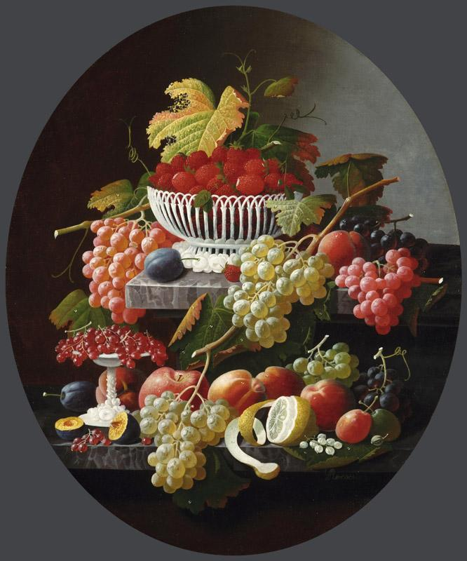 Severin Roesen, American (born Germany), c. 1815-c. 1872 -- Still Life with Fruit and a Wine Glasss