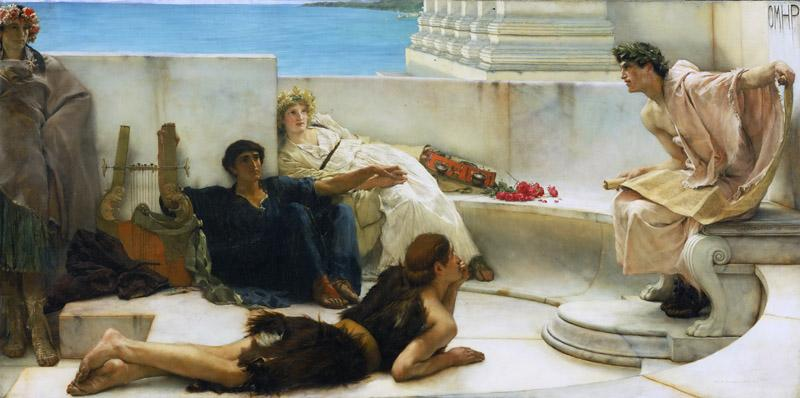 Sir Lawrence Alma-Tadema, English (born Netherlands), 1836-1912 -- A Reading from Homer