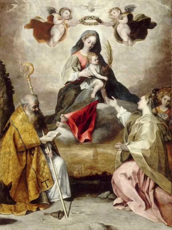 Studio of Federico Barocci -- Virgin and Child in Glory with Saint Anthony Abbott and Saint Lucy